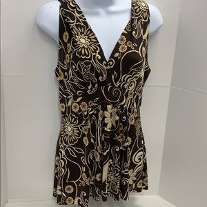 Body Central Top size Large Brown Floral